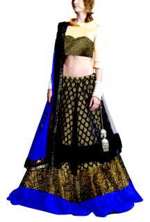 Golden Embroided York Style Choli with Double layer  Lehenga Clubed with Royal Blue Duptta