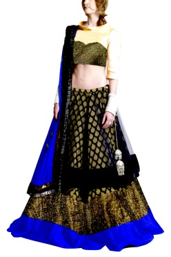 Golden Embroided York Style Choli with Double layer  Lehenga Clubed with Navy Blue Duptta