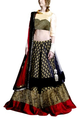 Golden Embroided York Style Choli with Double layer  Lehenga Clubed with Reddish Maroon Duptta