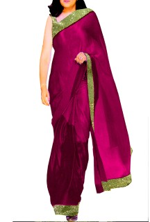 Designer Double Shaded Satin Saree with Embroided Blouse