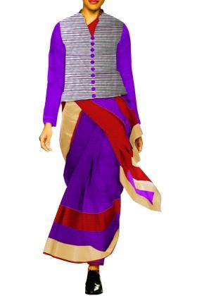 Designer Double Colour Saree with Banarsi Brocade Jacket