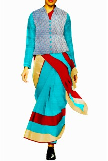 Designer Double Colour Saree with Banarsi Brocade Jacket