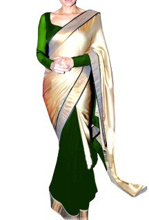 Double Colour Half & Half Saree
