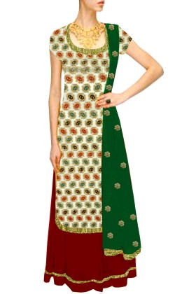 Women's Lehenha & Banarsi Brocade Shirt with sequience embroidery Free Size