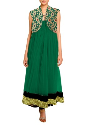 Women's Anarkali Suit with Banarsi Brocade short Jacket Free Size