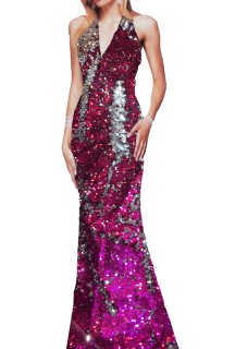 Women's Haulter style Embroided long 'a-line' Gown Free Size